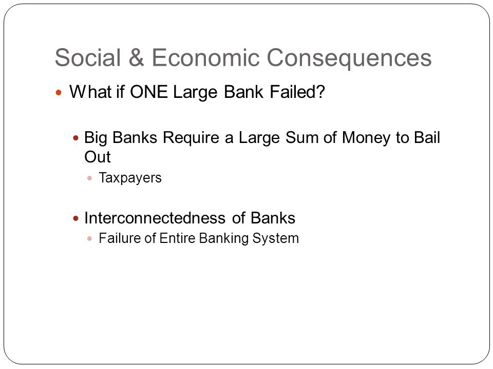 Social & Economic Consequences What if ONE Large Bank Failed.
