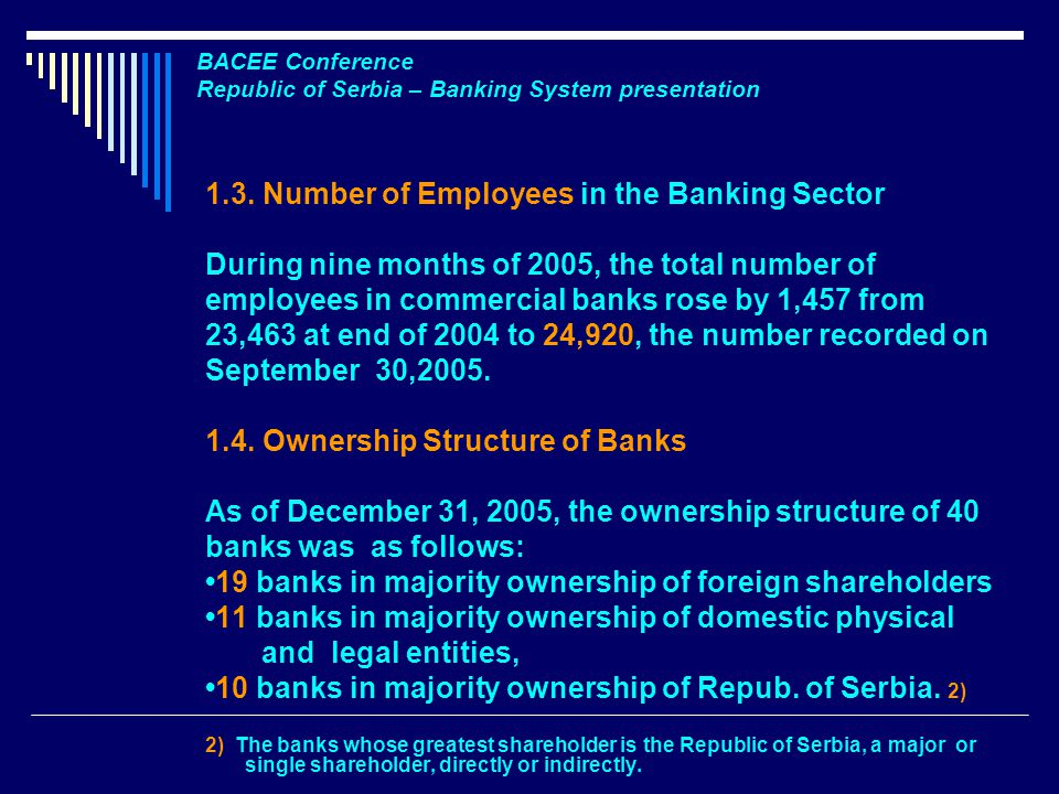 BACEE Conference Republic of Serbia – Banking System presentation 1.3.