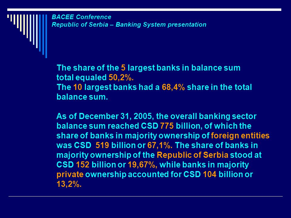 BACEE Conference Republic of Serbia – Banking System presentation The share of the 5 largest banks in balance sum total equaled 50,2%.