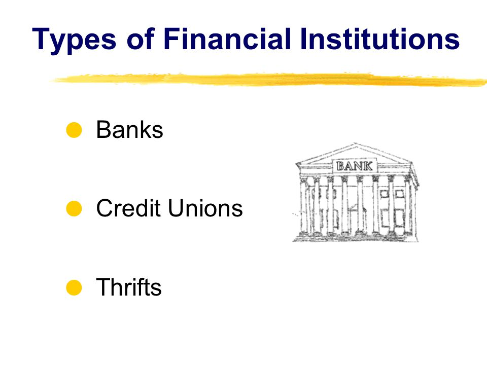 Types of Financial Institutions Banks Credit Unions Thrifts