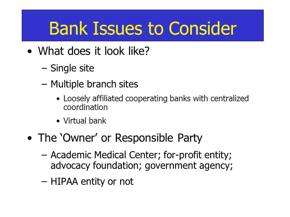 Bank Issues to Consider What does it look like.