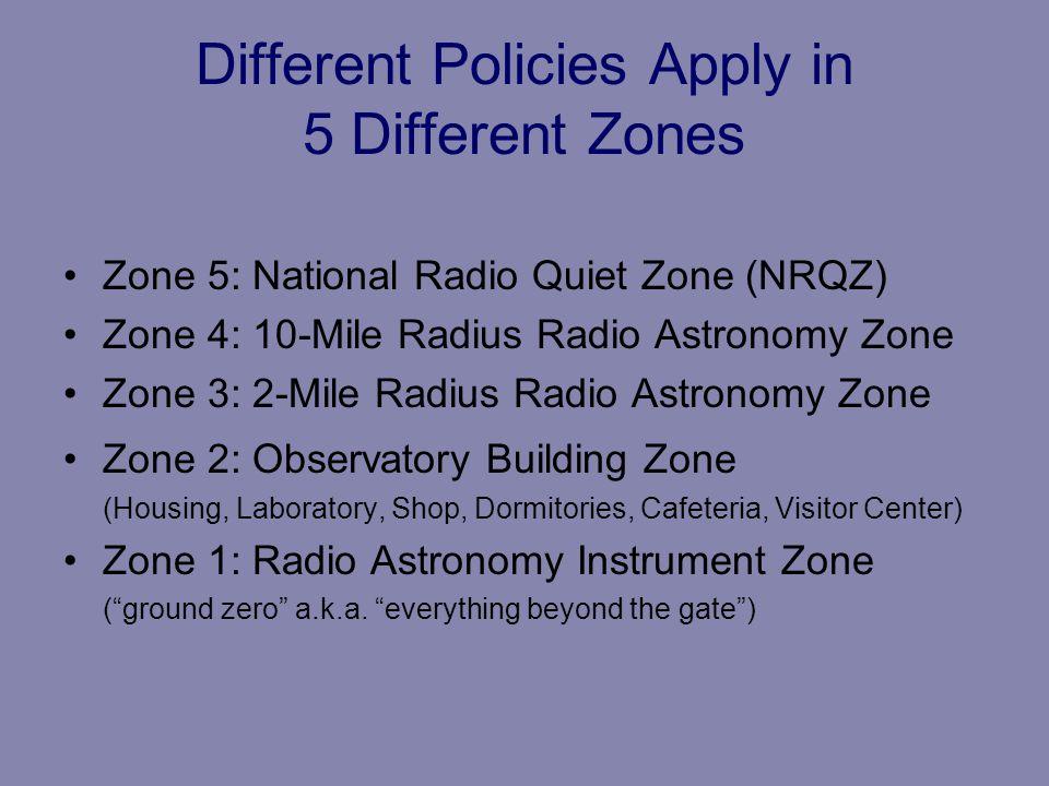 Different Policies Apply in 5 Different Zones Zone 5: National Radio Quiet Zone (NRQZ) Zone 4: 10-Mile Radius Radio Astronomy Zone Zone 3: 2-Mile Radi