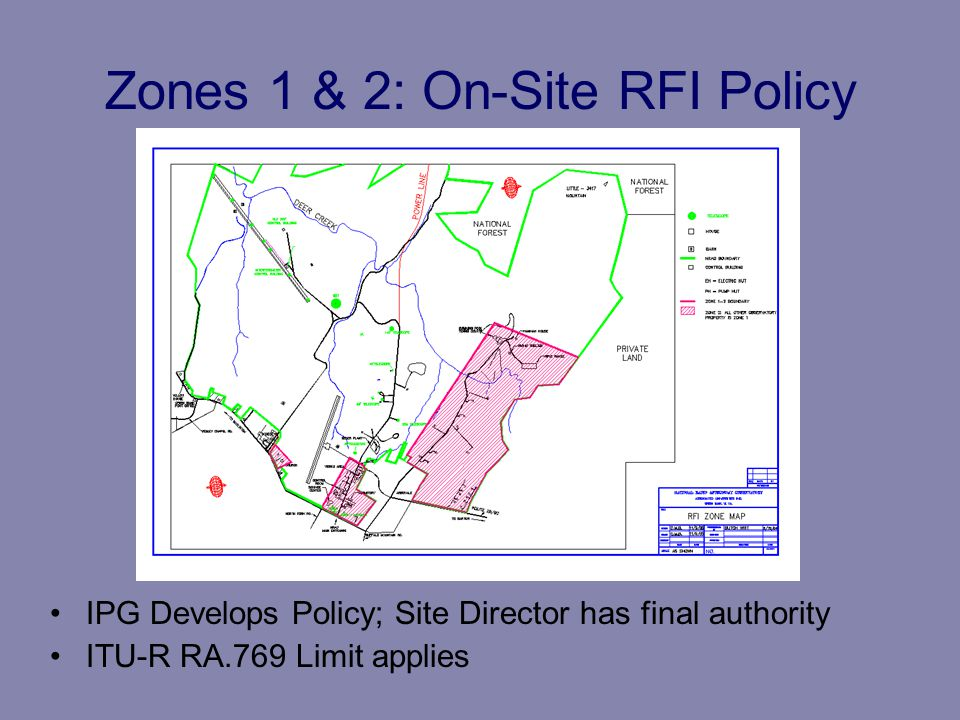 Zones 1 & 2: On-Site RFI Policy IPG Develops Policy; Site Director has final authority ITU-R RA.769 Limit applies