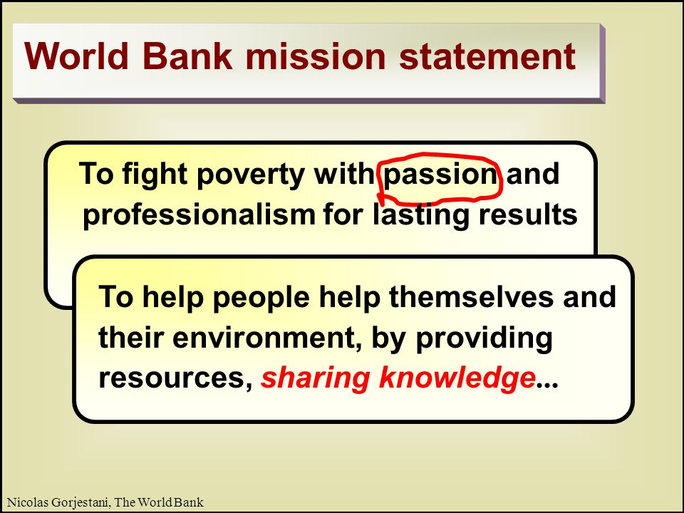 27 Nicolas Gorjestani, The World Bank Integrate knowledge into quality process Road Map for Leveraging Knowledge Systematic process to: Learn before, during, and after the task þ Provide teams with timely best advice þ Ensure that the advice is used