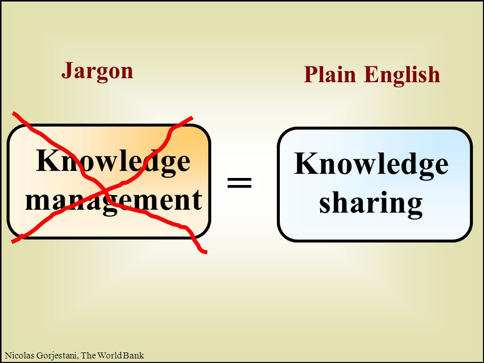 19 Nicolas Gorjestani, The World Bank Knowledge base knowledge objects Then the focus shifted to knowledge communities Communities of practice 100+ thematic groups The evolution of knowledge sharing