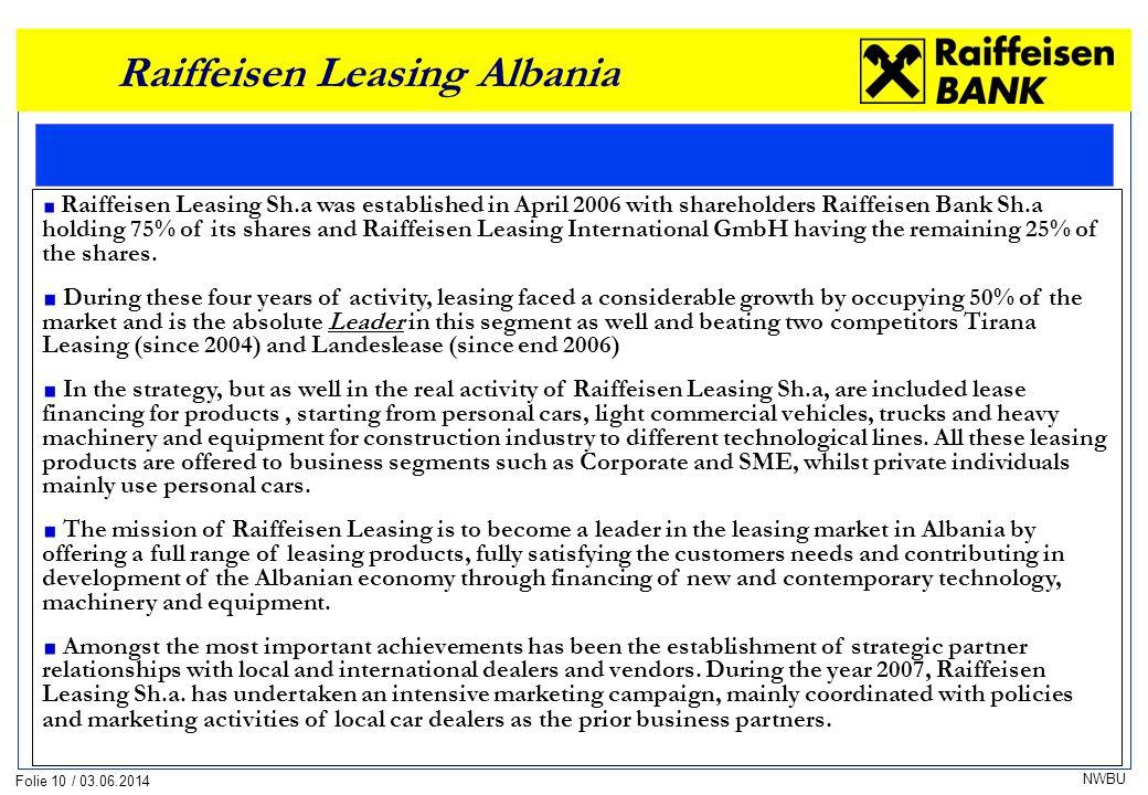 Folie 10 / 03.06.2014 NWBU Raiffeisen Leasing Albania Raiffeisen Leasing Sh.a was established in April 2006 with shareholders Raiffeisen Bank Sh.a hol
