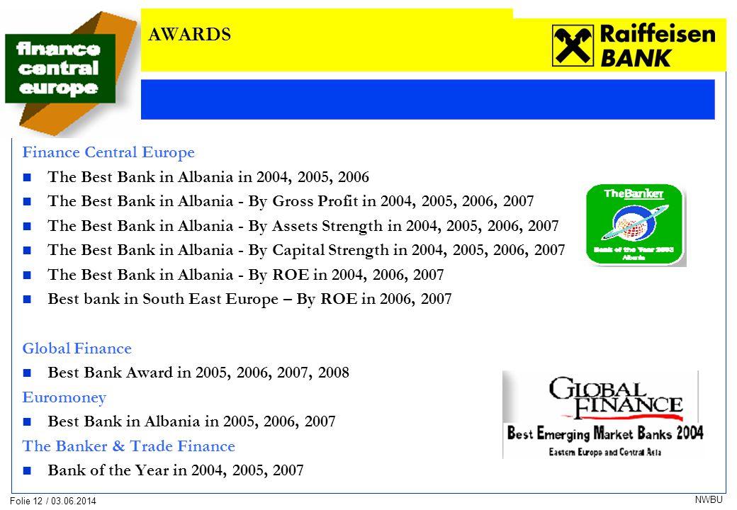 Folie 12 / 03.06.2014 NWBU Finance Central Europe The Best Bank in Albania in 2004, 2005, 2006 The Best Bank in Albania - By Gross Profit in 2004, 2005, 2006, 2007 The Best Bank in Albania - By Assets Strength in 2004, 2005, 2006, 2007 The Best Bank in Albania - By Capital Strength in 2004, 2005, 2006, 2007 The Best Bank in Albania - By ROE in 2004, 2006, 2007 Best bank in South East Europe – By ROE in 2006, 2007 Global Finance Best Bank Award in 2005, 2006, 2007, 2008 Euromoney Best Bank in Albania in 2005, 2006, 2007 The Banker & Trade Finance Bank of the Year in 2004, 2005, 2007 AWARDS