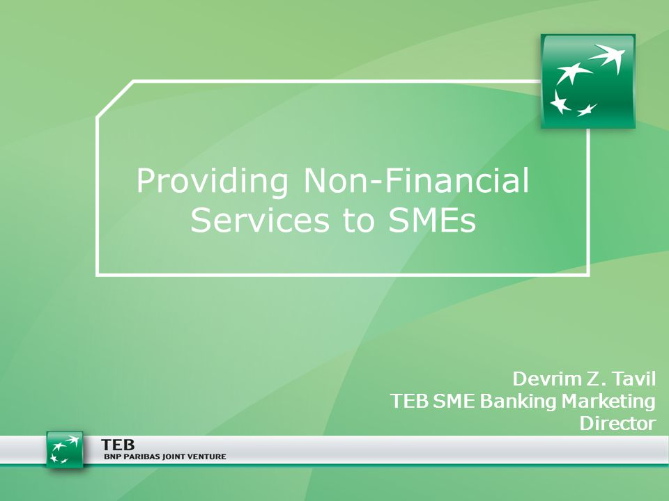 Providing Non-Financial Services to SMEs Devrim Z. Tavil TEB SME Banking Marketing Director