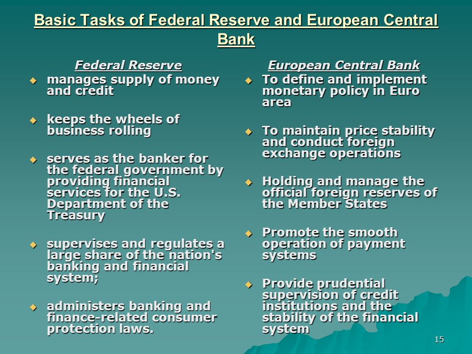 15 Basic Tasks of Federal Reserve and European Central Bank Federal Reserve manages supply of money and credit manages supply of money and credit keep