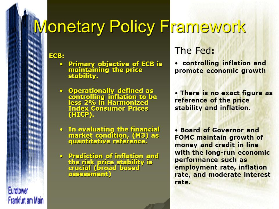 32 Monetary Policy Framework ECB: ECB: Primary objective of ECB is maintaining the price stability.Primary objective of ECB is maintaining the price s