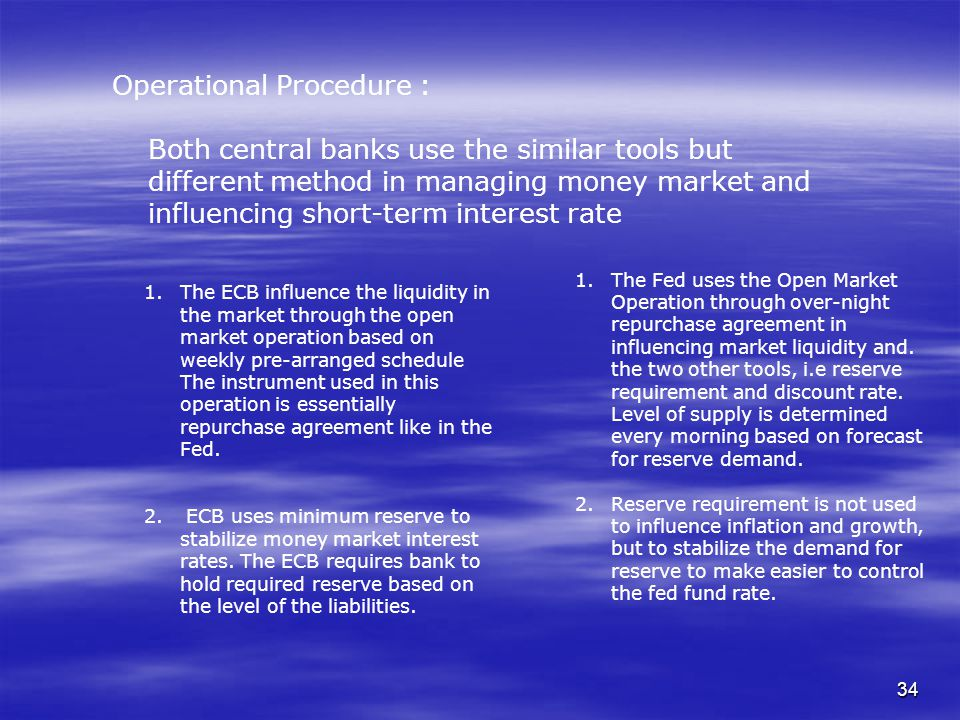 34 Operational Procedure : Both central banks use the similar tools but different method in managing money market and influencing short-term interest