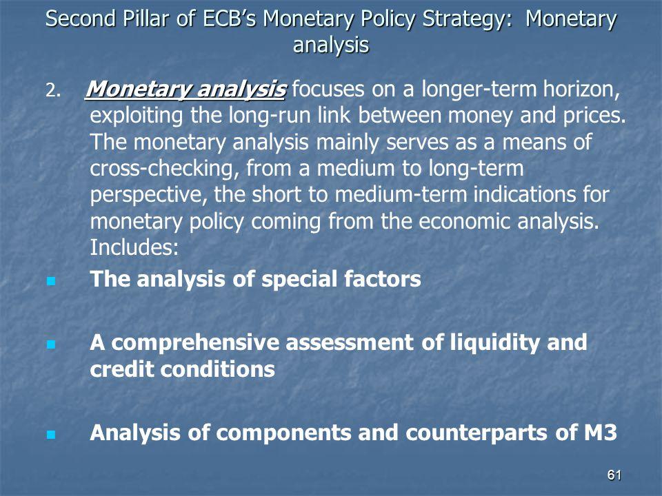 61 Second Pillar of ECBs Monetary Policy Strategy: Monetary analysis Monetary analysis 2. Monetary analysis focuses on a longer-term horizon, exploiti