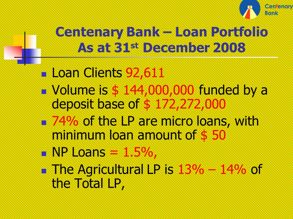 Centenary Bank – Loan Portfolio As at 31 st December 2008 Loan Clients 92,611 Volume is $ 144,000,000 funded by a deposit base of $ 172,272,000 74% of the LP are micro loans, with minimum loan amount of $ 50 NP Loans = 1.5%, The Agricultural LP is 13% – 14% of the Total LP,