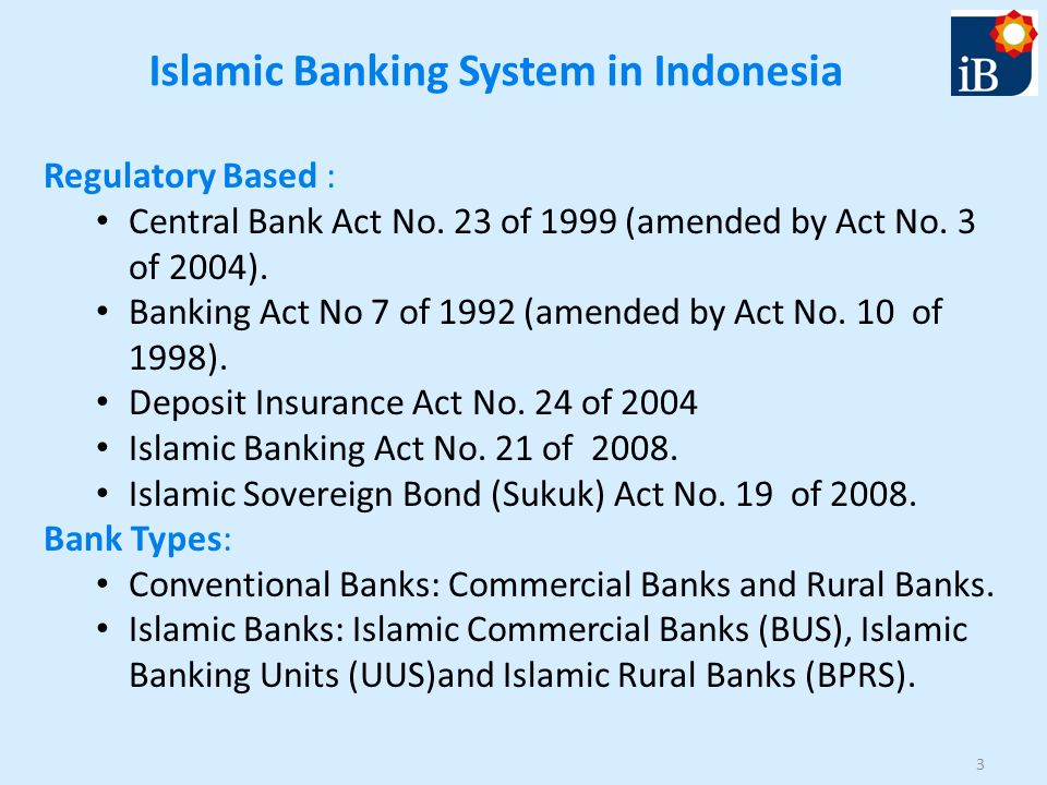 Islamic Banking System in Indonesia Regulatory Based : Central Bank Act No.