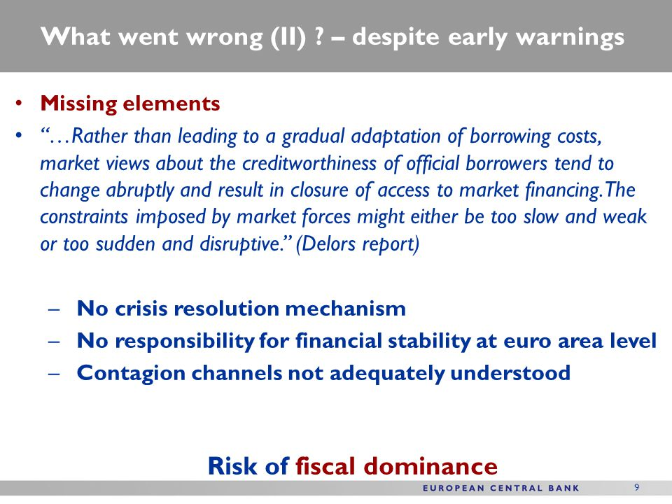What went wrong?: Gaps in the financial governance framework Two trilemmas: (1)Financial trilemma (2) The new impossible trinity Source: Schoenmaker (2011) Source: Pisani-Ferry (2012) Increasing financial fragmentation due to bank sovereign nexus: also a risk of financial dominance 10 Financial stability Financial integration National supervisionNo monetary financing Sovereign-bank interdependence National fiscal policies