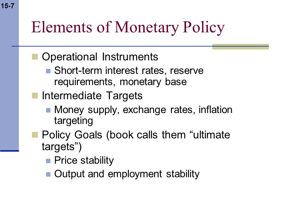 15-7 Elements of Monetary Policy Operational Instruments Short-term interest rates, reserve requirements, monetary base Intermediate Targets Money supply, exchange rates, inflation targeting Policy Goals (book calls them ultimate targets) Price stability Output and employment stability