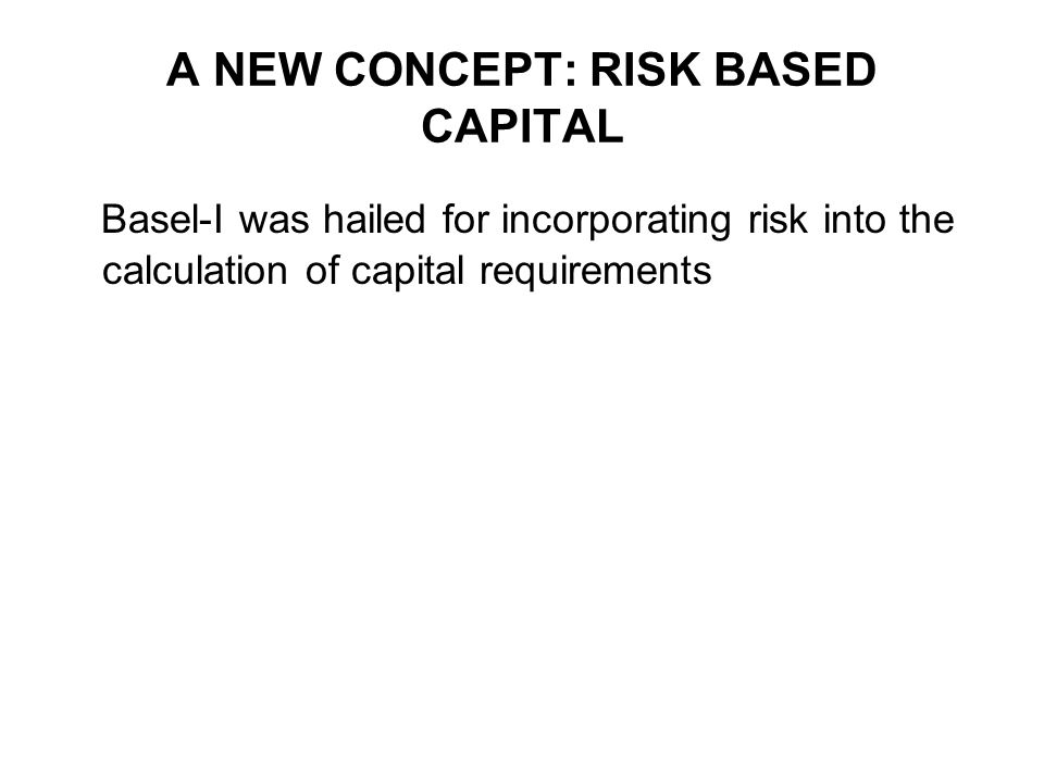 RISK WEIGHT CATEGORIES IN BASEL-I (4) 100% Risk Weight Claims on the private sector Claims on banks incorporated outside the OECD with residual maturity of over one year Claims on central governments outside the OECD (unless denominated and funded in national currency) Claims on commercial companies owned by the public sector Premises, plant and equipment, and other fixed assets Real estate and other investments Capital instruments issued by other banks (unless deducted from capital) All other assets