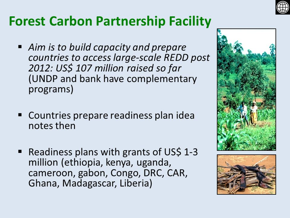 Forest Carbon Partnership Facility Aim is to build capacity and prepare countries to access large-scale REDD post 2012: US$ 107 million raised so far (UNDP and bank have complementary programs) Countries prepare readiness plan idea notes then Readiness plans with grants of US$ 1-3 million (ethiopia, kenya, uganda, cameroon, gabon, Congo, DRC, CAR, Ghana, Madagascar, Liberia)