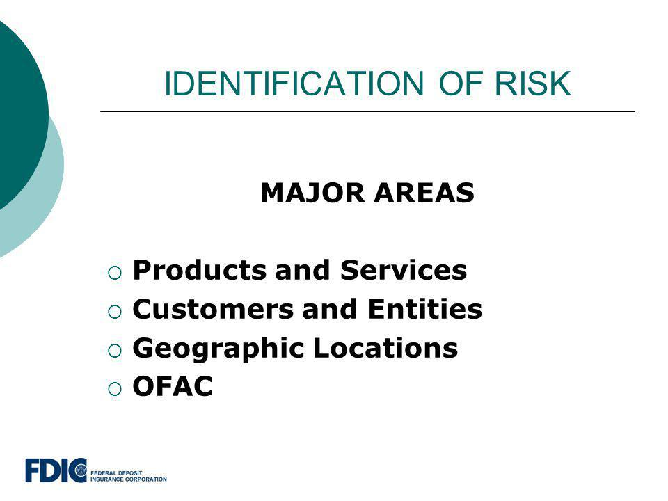 IDENTIFICATION OF RISK MAJOR AREAS Products and Services Customers and Entities Geographic Locations OFAC