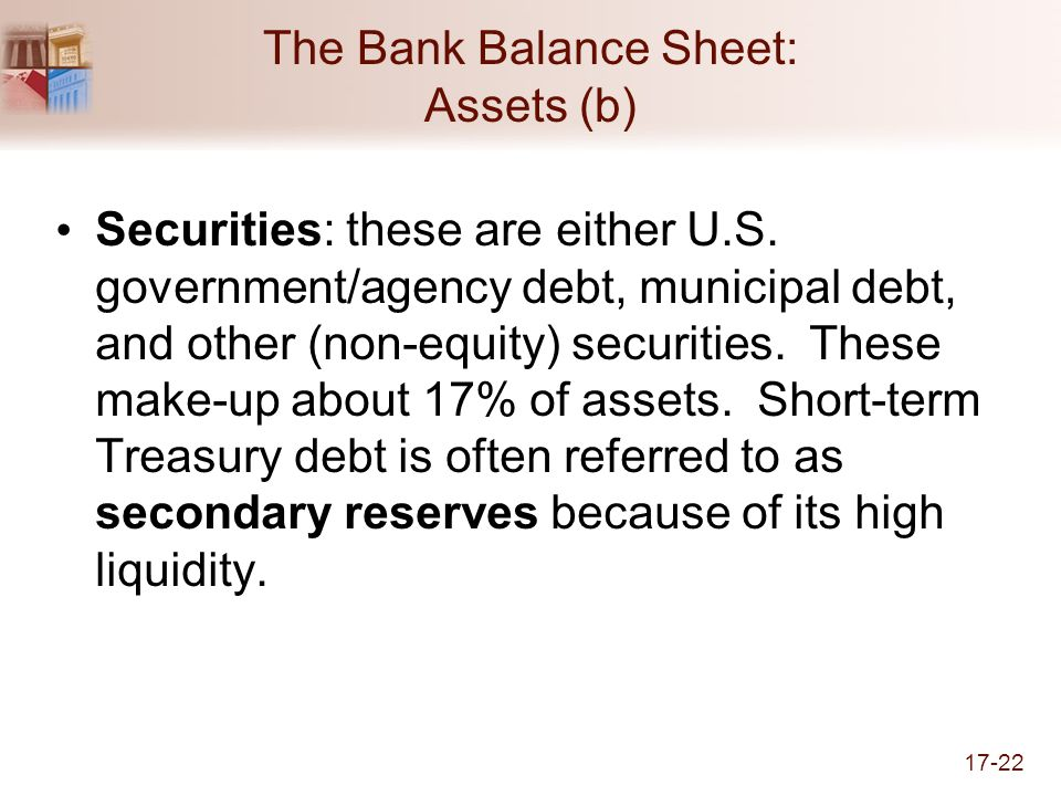 17-22 The Bank Balance Sheet: Assets (b) Securities: these are either U.S.