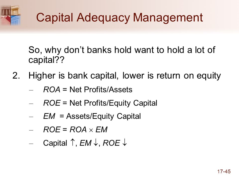 17-45 Capital Adequacy Management So, why dont banks hold want to hold a lot of capital?.