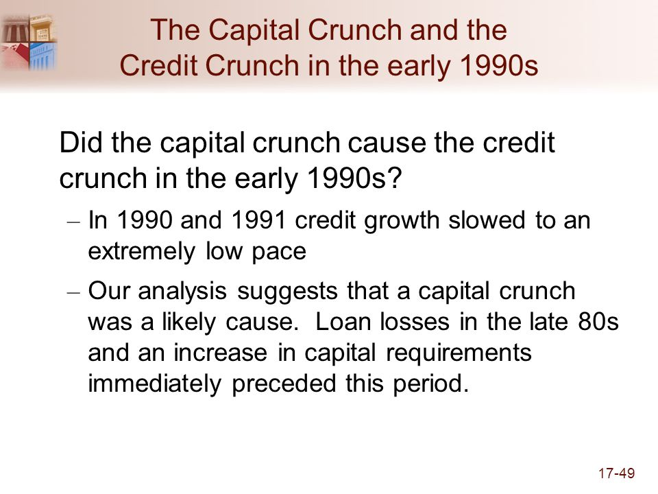 17-49 The Capital Crunch and the Credit Crunch in the early 1990s Did the capital crunch cause the credit crunch in the early 1990s.