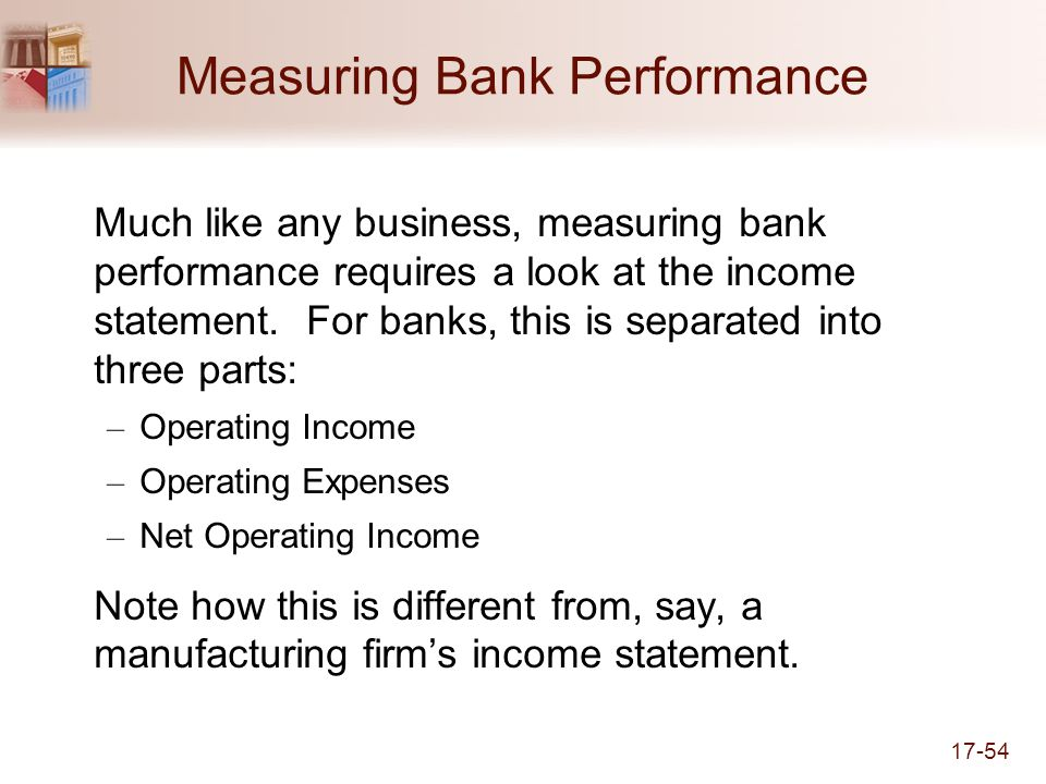 17-54 Measuring Bank Performance Much like any business, measuring bank performance requires a look at the income statement.