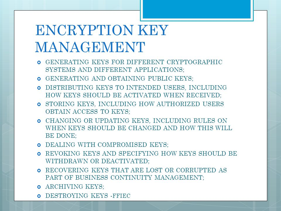 ENCRYPTION KEY MANAGEMENT GENERATING KEYS FOR DIFFERENT CRYPTOGRAPHIC SYSTEMS AND DIFFERENT APPLICATIONS; GENERATING AND OBTAINING PUBLIC KEYS; DISTRI