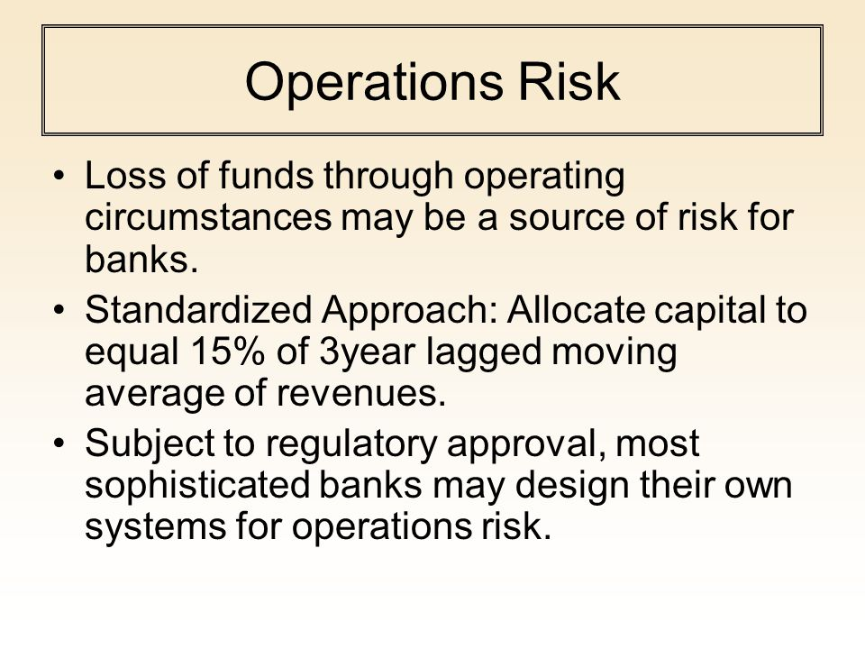 Operations Risk Loss of funds through operating circumstances may be a source of risk for banks. Standardized Approach: Allocate capital to equal 15%