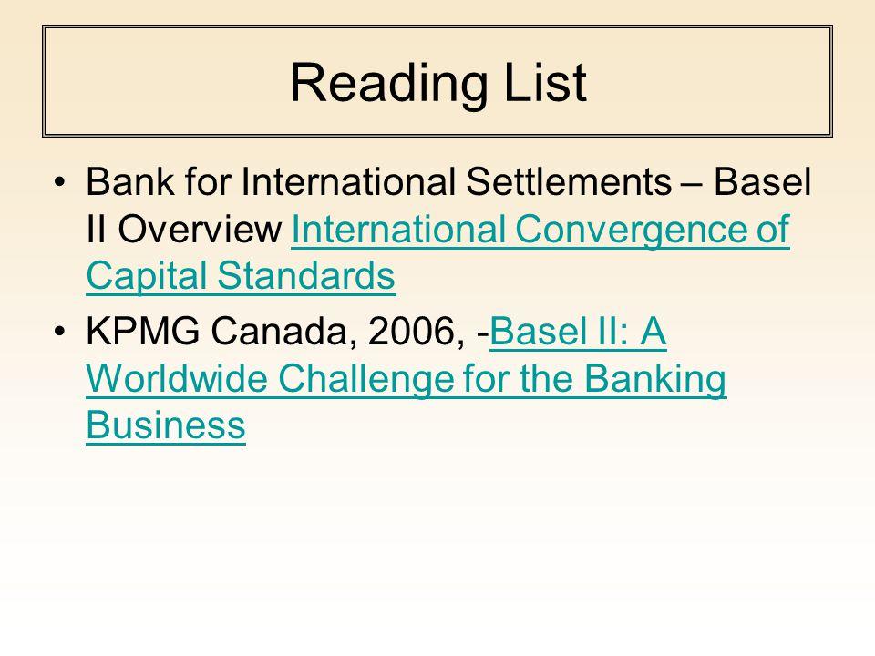 Reading List Bank for International Settlements – Basel II Overview International Convergence of Capital StandardsInternational Convergence of Capital