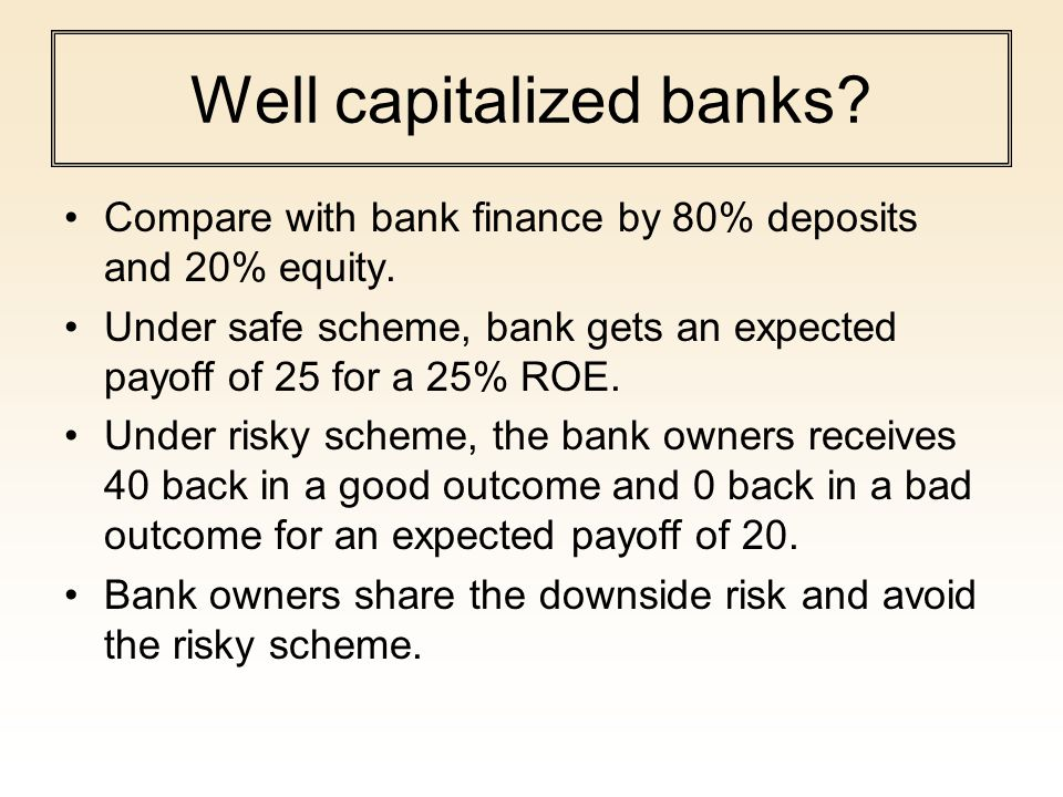 Well capitalized banks? Compare with bank finance by 80% deposits and 20% equity. Under safe scheme, bank gets an expected payoff of 25 for a 25% ROE.
