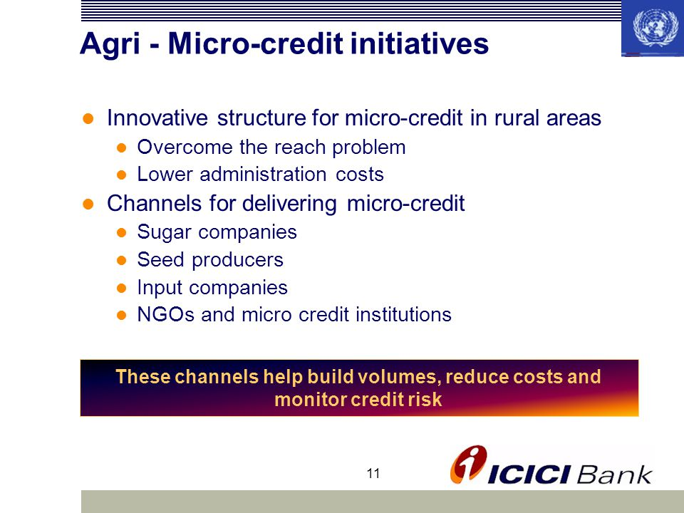 11 Agri - Micro-credit initiatives Innovative structure for micro-credit in rural areas Overcome the reach problem Lower administration costs Channels for delivering micro-credit Sugar companies Seed producers Input companies NGOs and micro credit institutions These channels help build volumes, reduce costs and monitor credit risk