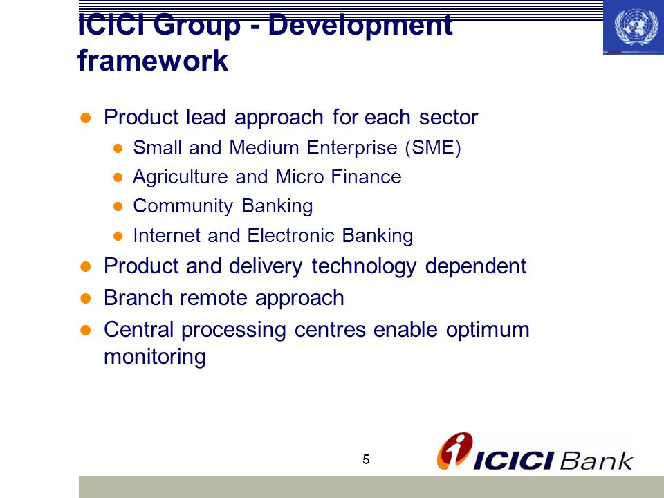 5 ICICI Group - Development framework Product lead approach for each sector Small and Medium Enterprise (SME) Agriculture and Micro Finance Community Banking Internet and Electronic Banking Product and delivery technology dependent Branch remote approach Central processing centres enable optimum monitoring