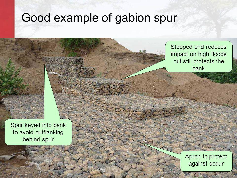 Good example of gabion spur Stepped end reduces impact on high floods but still protects the bank Spur keyed into bank to avoid outflanking behind spu