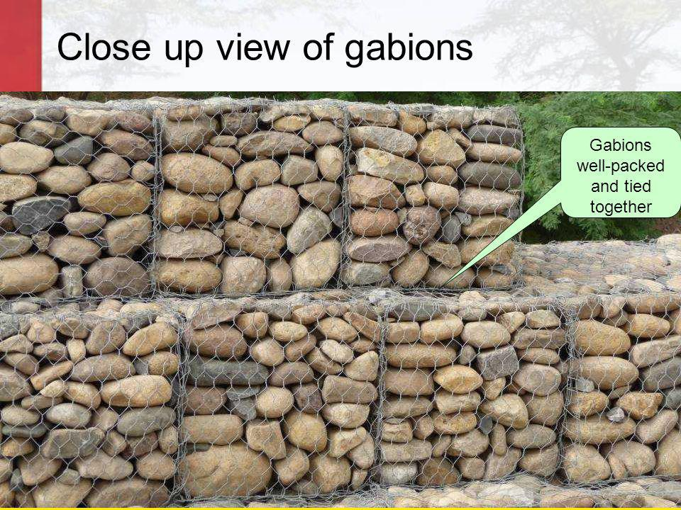 Close up view of gabions Gabions well-packed and tied together