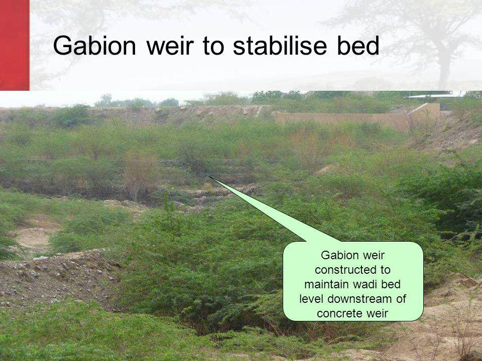 Gabion weir to stabilise bed Gabion weir constructed to maintain wadi bed level downstream of concrete weir