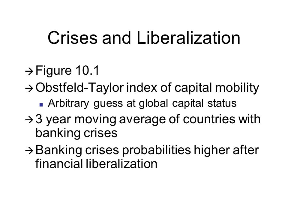 Crises and Liberalization Figure 10.1 Obstfeld-Taylor index of capital mobility Arbitrary guess at global capital status 3 year moving average of countries with banking crises Banking crises probabilities higher after financial liberalization