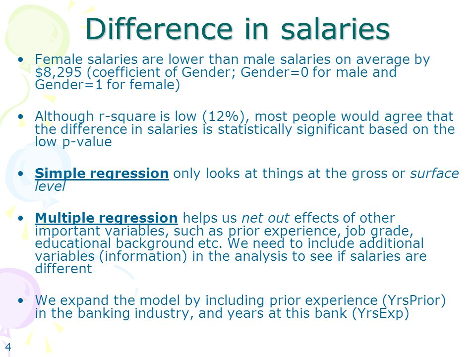 4 Difference in salaries Female salaries are lower than male salaries on average by $8,295 (coefficient of Gender; Gender=0 for male and Gender=1 for