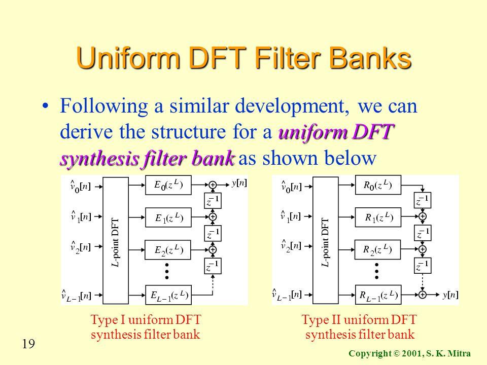 19 Copyright © 2001, S. K. Mitra Uniform DFT Filter Banks uniform DFT synthesis filter bankFollowing a similar development, we can derive the structur