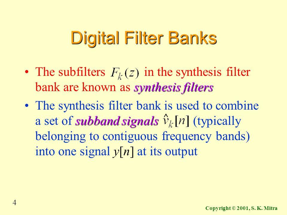 4 Copyright © 2001, S. K. Mitra Digital Filter Banks synthesis filtersThe subfilters in the synthesis filter bank are known as synthesis filters subba