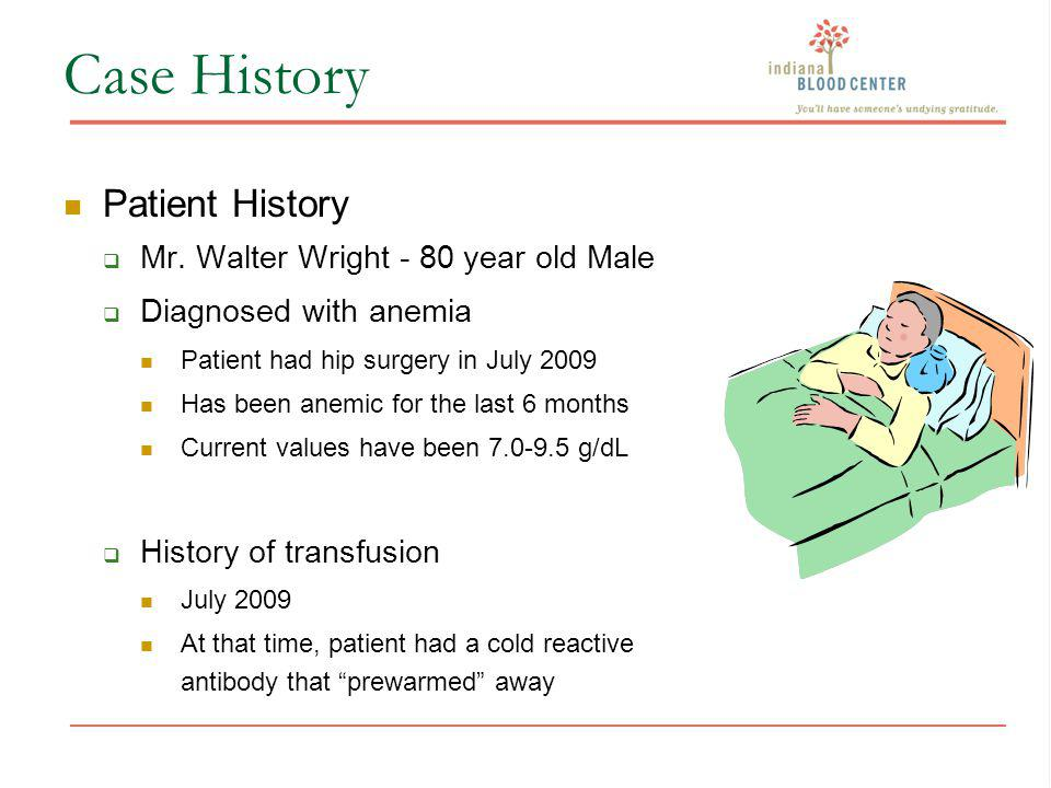 Case History Patient History Mr. Walter Wright - 80 year old Male Diagnosed with anemia Patient had hip surgery in July 2009 Has been anemic for the l