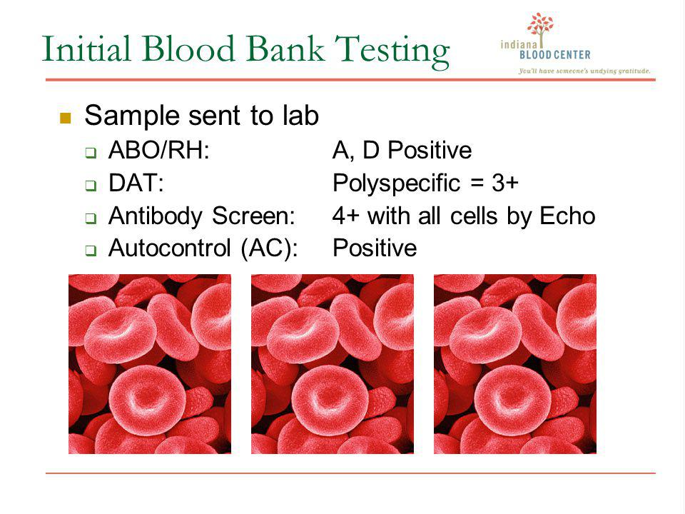 Initial Blood Bank Testing Sample sent to lab ABO/RH:A, D Positive DAT:Polyspecific = 3+ Antibody Screen:4+ with all cells by Echo Autocontrol (AC):Po