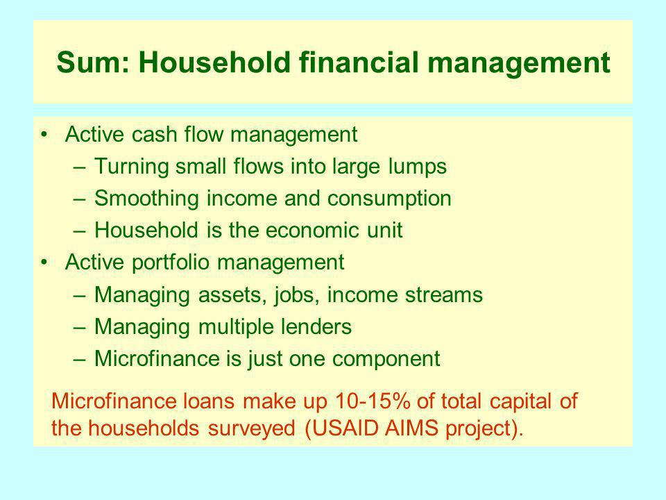 Sum: Household financial management Active cash flow management –Turning small flows into large lumps –Smoothing income and consumption –Household is the economic unit Active portfolio management –Managing assets, jobs, income streams –Managing multiple lenders –Microfinance is just one component Microfinance loans make up 10-15% of total capital of the households surveyed (USAID AIMS project).