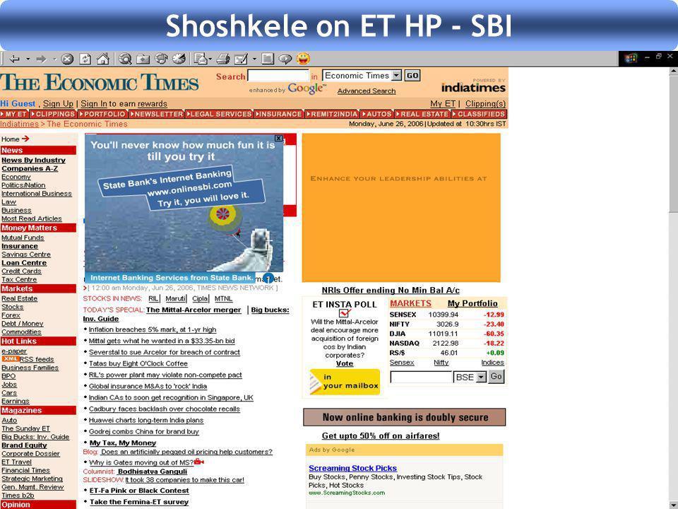 Shoshkele on ET HP - SBI