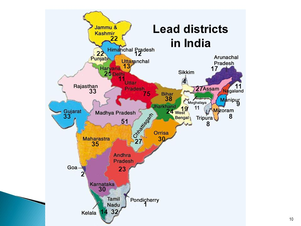 22 12 13 21 33 51 75 11 38 24 30 19 4 17 27 11 9 8 8 23 32 1 14 30 2 35 33 27 22 11 Lead districts in India 10