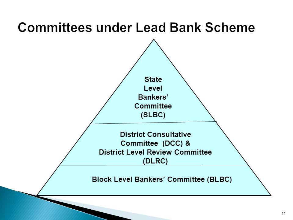 Block Level Bankers Committee (BLBC) District Consultative Committee (DCC) & District Level Review Committee (DLRC) State Level Bankers Committee (SLB