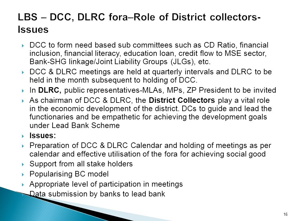 DCC to form need based sub committees such as CD Ratio, financial inclusion, financial literacy, education loan, credit flow to MSE sector, Bank-SHG linkage/Joint Liability Groups (JLGs), etc.