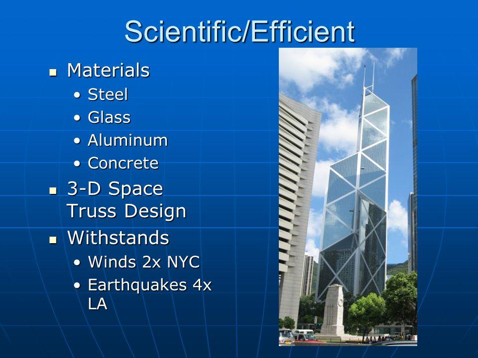 Scientific/Efficient Materials Materials SteelSteel GlassGlass AluminumAluminum ConcreteConcrete 3-D Space Truss Design 3-D Space Truss Design Withsta