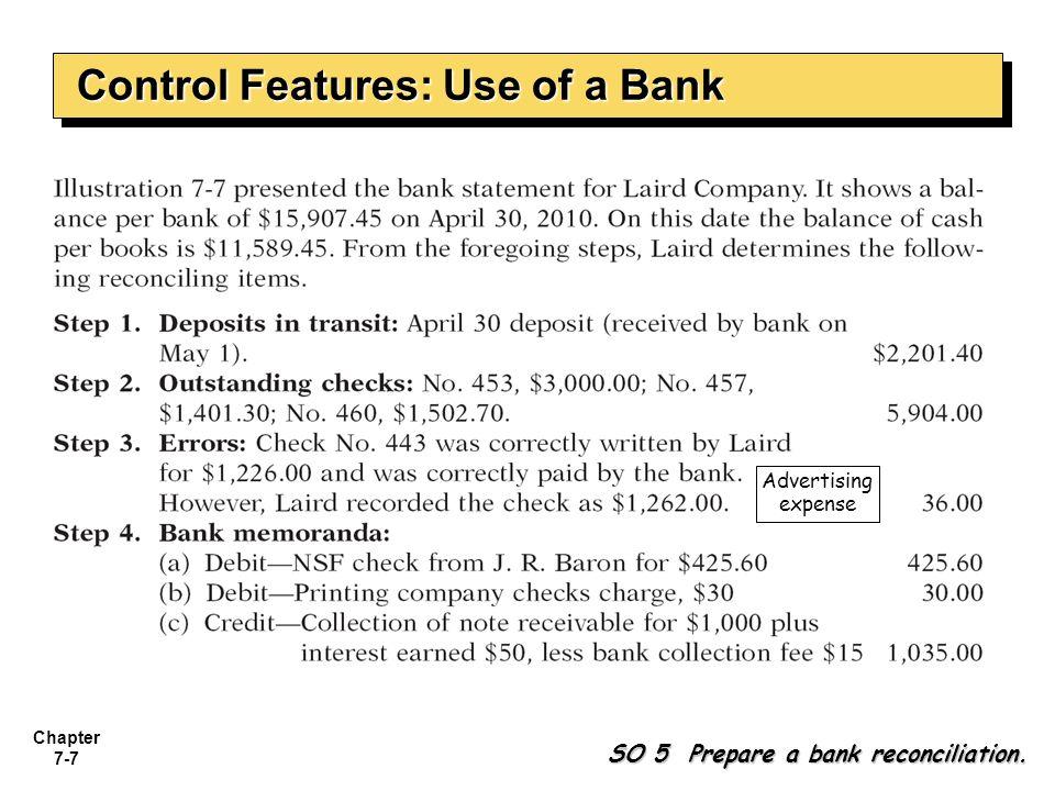 Chapter 7-8 Illustration: Illustration: Prepare a bank reconciliation at April 30.