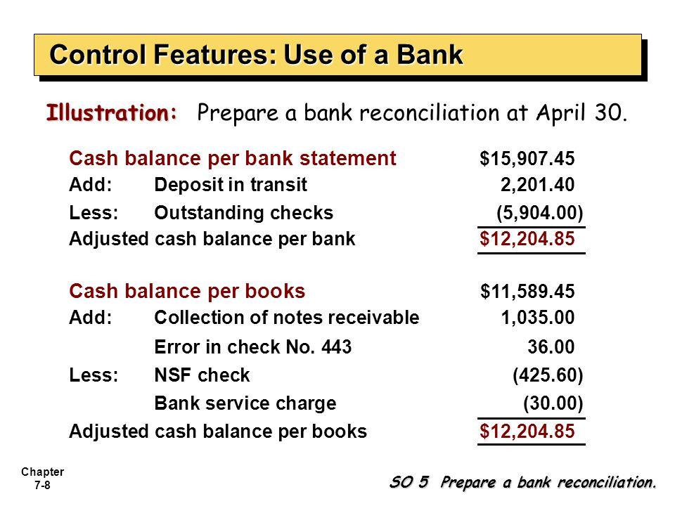 Chapter 7-8 Illustration: Illustration: Prepare a bank reconciliation at April 30. SO 5 Prepare a bank reconciliation. Cash balance per bank statement